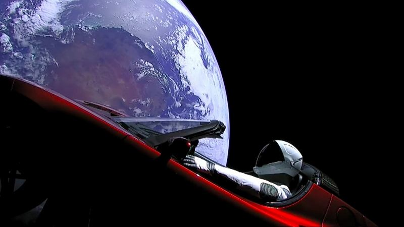 tesla falcon heavy space